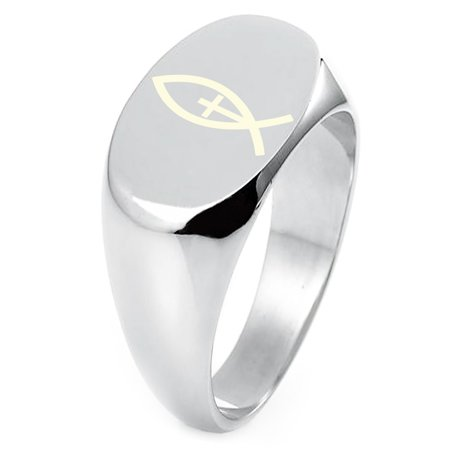 Sterling Silver Vertical Ichthus Cross Fish Symbol Engraved Oval Flat Top Polished Ring