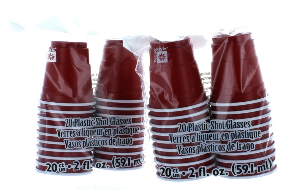 40 Mini Red Cups Plastic 2oz Shot Glasses College Party Disposable by