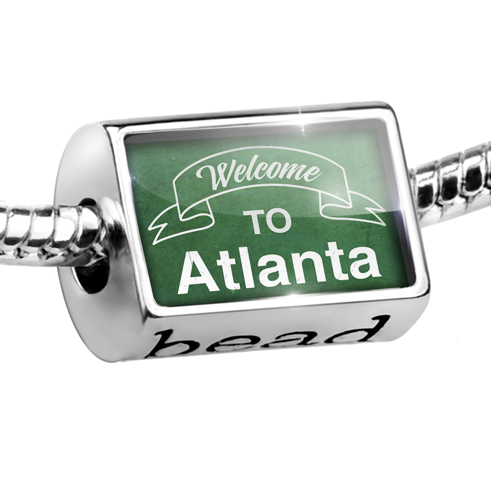 Bead Green Sign Welcome To Atlanta Charm Fits All European Bracelets