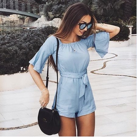 Women Spring and Summer Blue Light Sexy Travel Beach Instagram Same Paragraph Short Jumpsuit](Blue Jumpsuit)