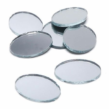 2 x 1.5 inch Mini Oval Glass Mirrors Bulk 24 Pieces Mosaic Mirror