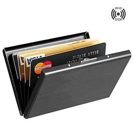 Black Anti-scan Stainless Steel Case Slim RFID Blocking Wallet ID Credit Card Holder