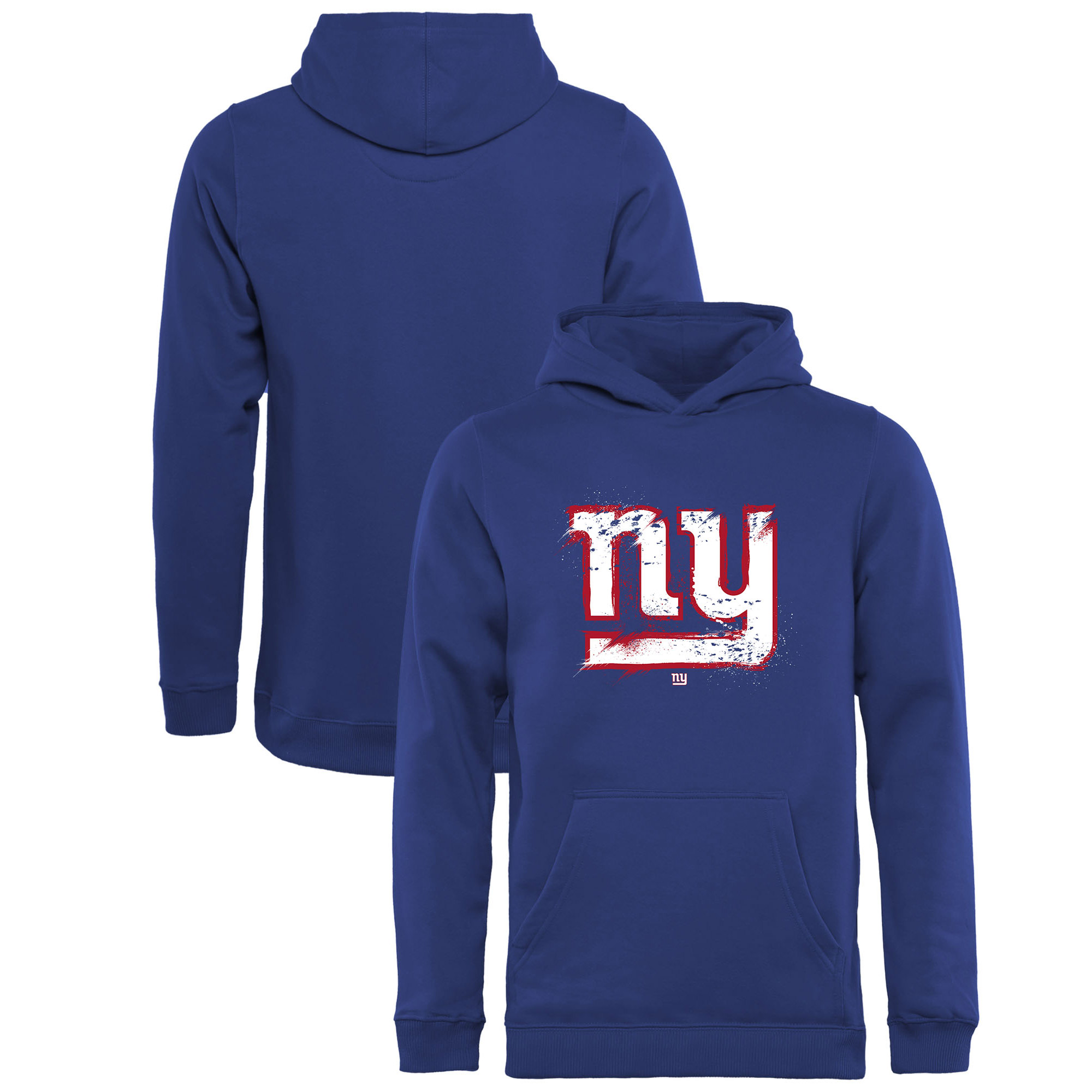 New York Giants NFL Pro Line by Fanatics Branded Youth Splatter Logo Pullover Hoodie - Royal