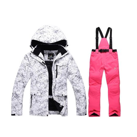 Ski And Snowboard Outlet - Fashion Women's High Waterproof Windproof Snowboard Colorful Printed Ski Jacket and Pants Style4 Large