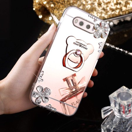 HMTECHUS Case for Samsung S10e Luxury Bling Crystal Diamond Rhinestone Shining Ring Holder Stand Miror Makeup TPU Bumper Cover Case for Samsung Galaxy S10e Rose Gold Flower Mirror TPU - image 3 de 3
