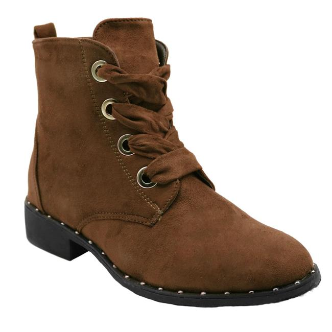 Jesco Footwear L-3800-260-006 2018 Holidays Collection Vivi-3 Blue Womens Low Heel Ankle High Lace Up Side Zip Fashion Winter Fall Boots - Tan, Size 6 - image 1 of 1