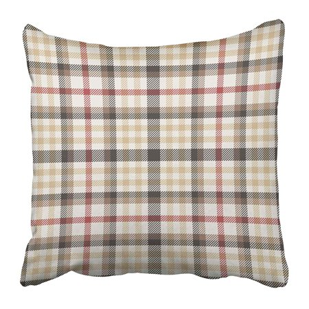 CMFUN Black Preppy Pattern Plaid Brown Tartan Check Classic Gingham Madras Swatch Pillow Case Cushion Cover 18x18 (Classic Business Check Pattern)