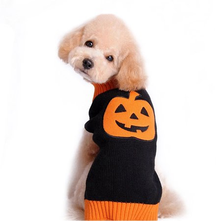 HDE Halloween Pumpkin Sweater for Dogs Orange and Black Pumpkin Pull Over Knitwear Pet Apparel (Black, Small) (Black Dog Halloween)