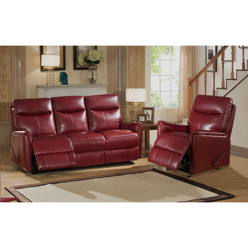 Amax Napa 2 Piece Top Grain Leather Lay Flat Reclining Living Room Set