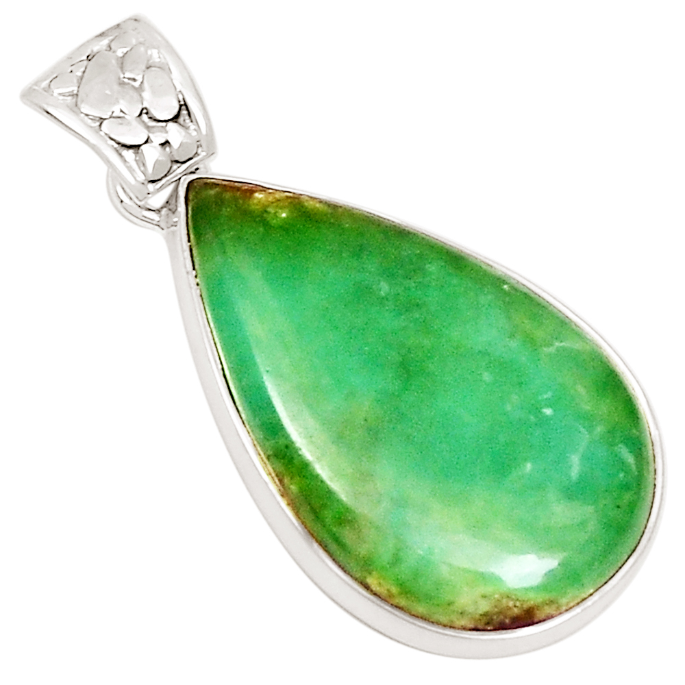 XTREMEGEMS Boulder Chrysoprase 925 Sterling Silver Pendant Jewelry 10801P by