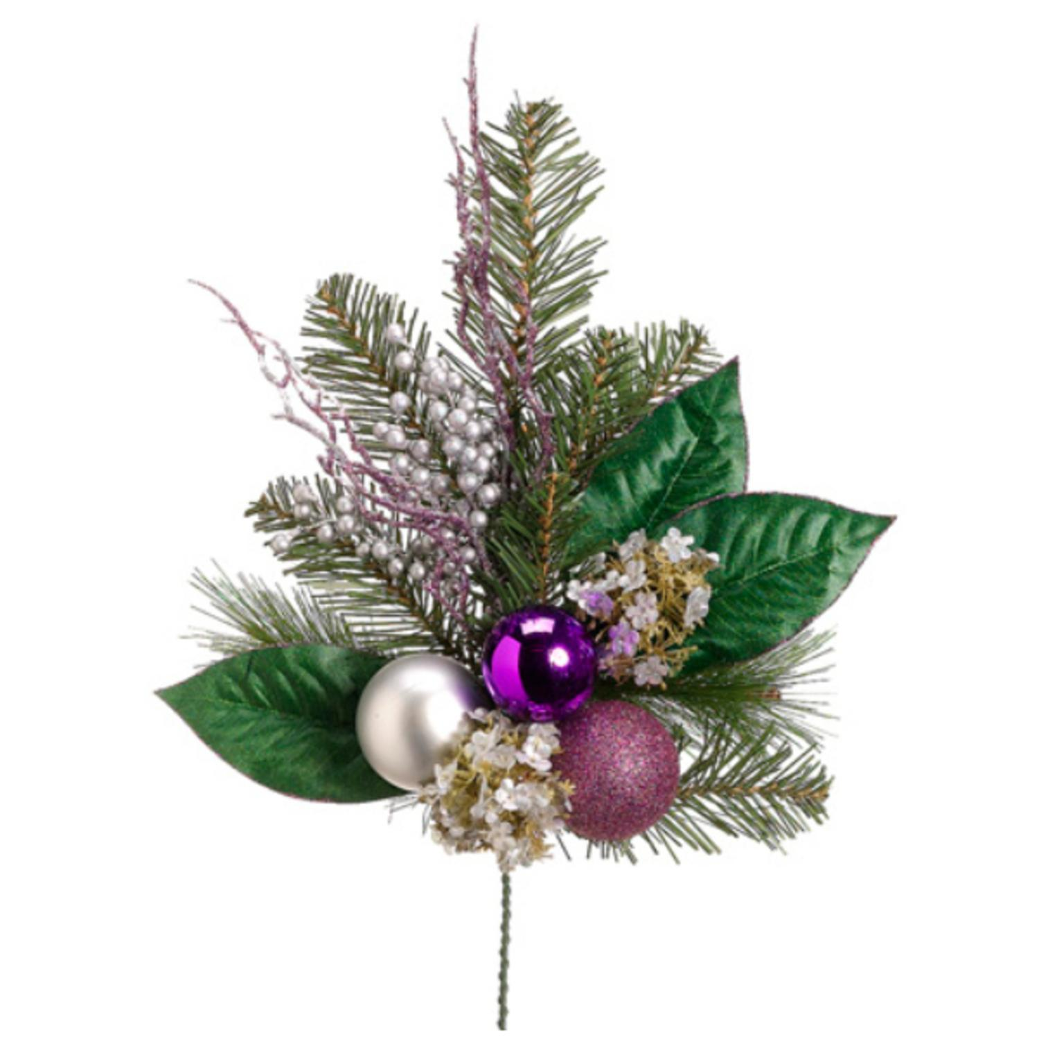 """19"""" Artificial Hydrangea and Berry with Purple and Silver Balls Christmas Spray"""