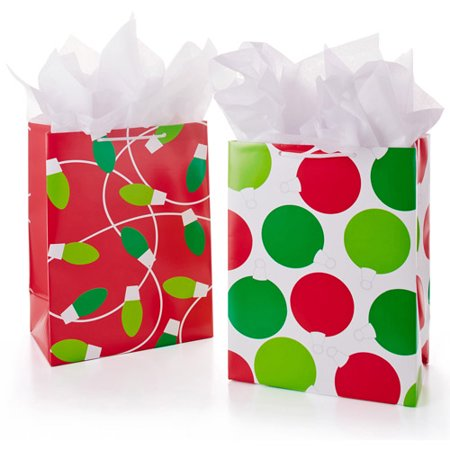 upc 610290409171 product image for hallmark 2 pack large holiday gift bags red