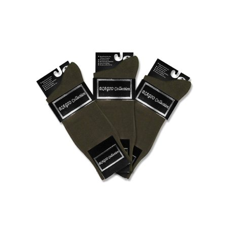 3 Pair of Biagio Solid Men's OLIVE GREEN Color COTTON Dress SOCKS Solid Olive Green