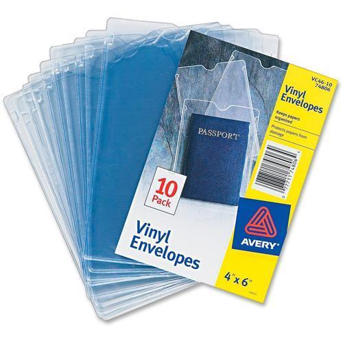 "Avery 74806 Top Thumb Notch Vinyl Envelopes - 4"" Width x 6"" Length Sheet Size - Vinyl - Clear - 10 / Pack"