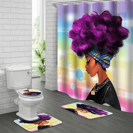 4pcs/Set African Girl Non-Slip Pedestal Rug + Lid Toilet Cover + Bathroom Bath Mat Doormat +Waterproof Shower Curtain with 10 Hooks Home Decor Christmas Gift ()