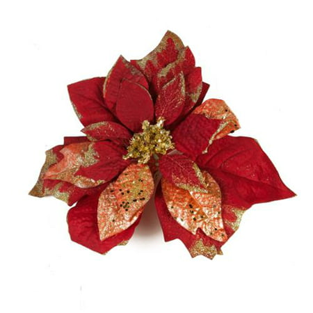 kaemingk 12 inch red silk poinsettia on clip christmas tree decoration