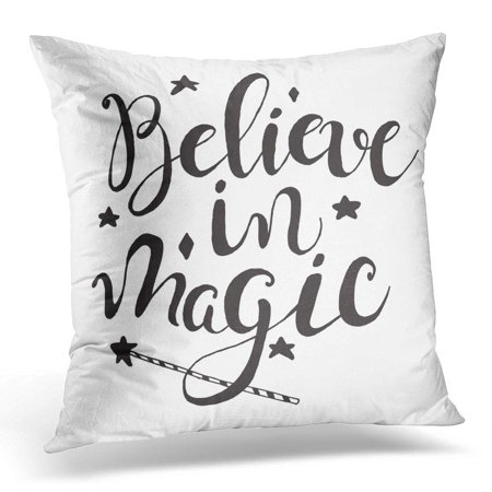 USART Black Calligraphy Halloween Label with Magic Wand and Quote Believe in Inspirational Lettering Holiday Pillow Case Pillow Cover 20x20 inch](Halloween 2017 Movie Quotes)
