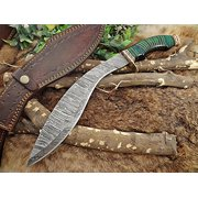 "Damascus Steel Kukri Knife 15 Inches custom made Hand Forged With 10"" long blade, Green wood with engraved brass scale, Cow Leather Sheath"