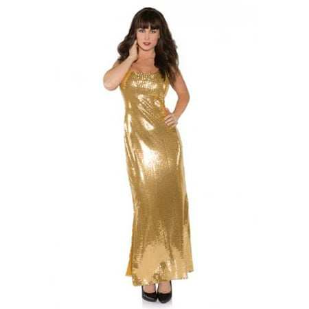 Gold Sequin Dress Halloween Costume (Gold Shimmer Long Sequin Dress Adult)