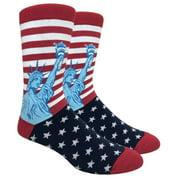 Men's Fun Novelty Print Dress Socks - Statue of Liberty Stars and Stripes