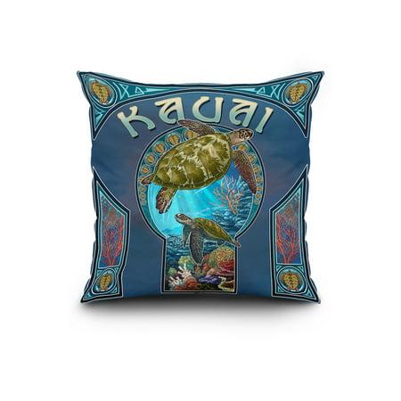 Kauai Hawaii Sea Turtle Art Nouveau Lantern Press Poster 20x20 Spun Po