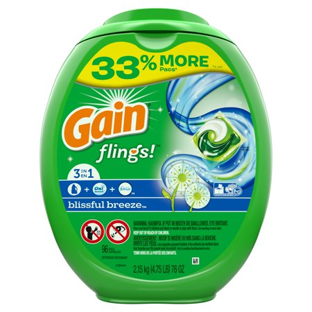 Gain flings! Liquid Laundry Detergent Pacs, Blissful Breeze, 96 count