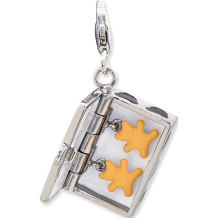 925 Sterling Silver Enameled 3-D Box of Cookies w/Lobster Clasp (opens) (18x44mm) Pendant / Charm - image 1 de 2