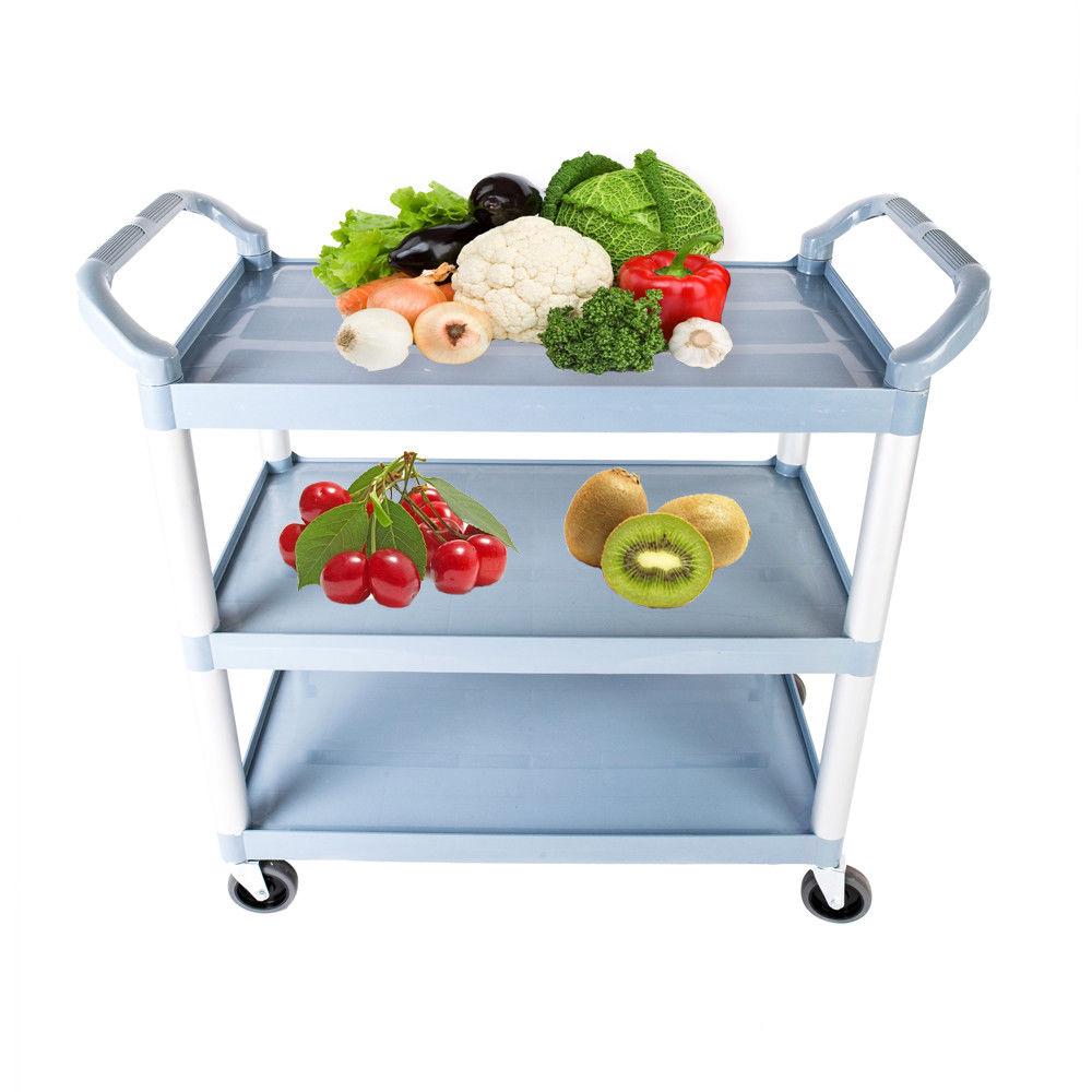 UBesGoo 3-Tier Rolling Kitchen Trolley Cart Island Storage Utility Service Home,Gray