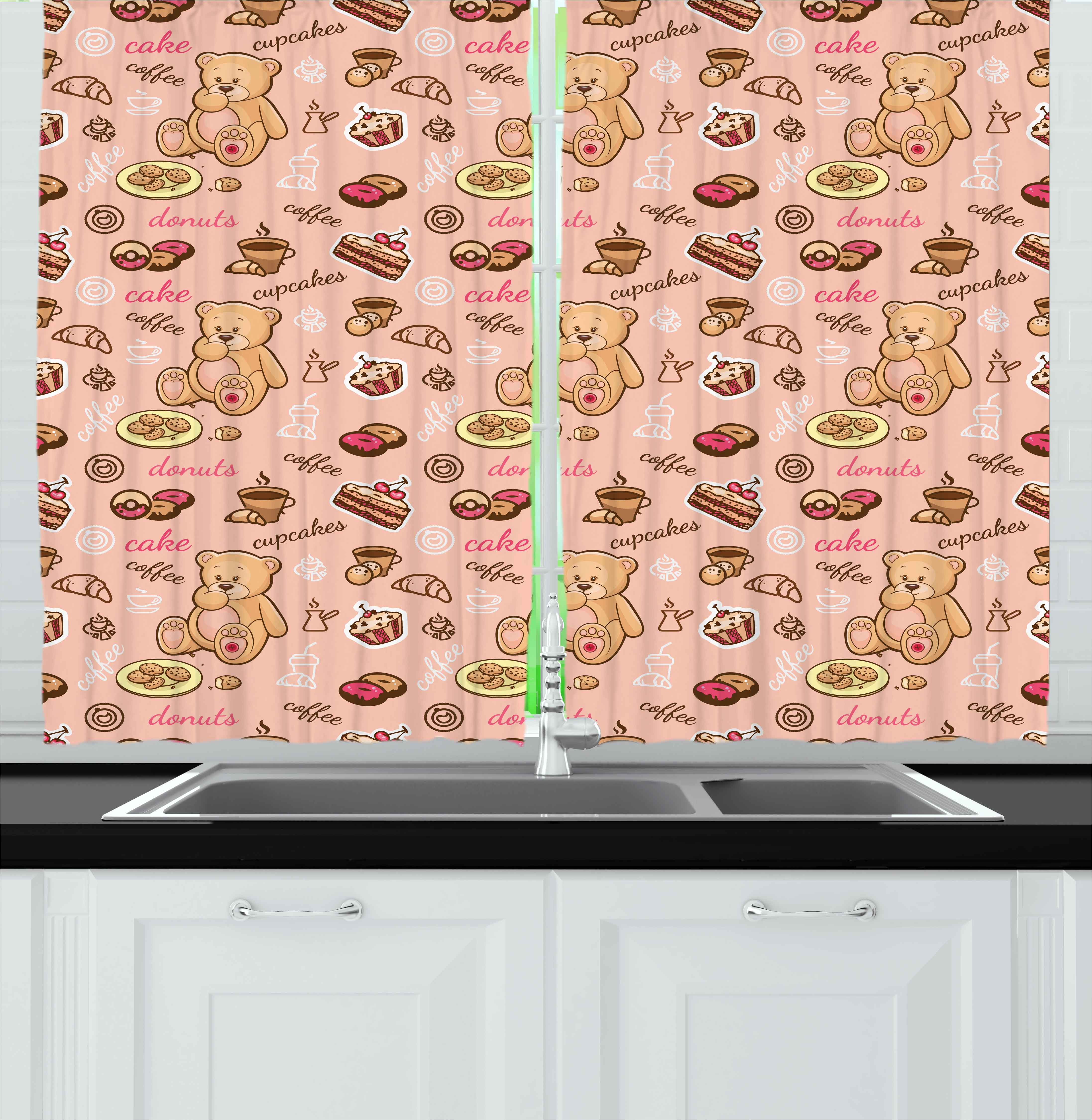 Kids Curtains 2 Panels Set, Teddy Bear with Cupcakes Cookies Donuts Cakes Cute Playroom Cartoon Print, Window Drapes for Living Room Bedroom, 55W X 39L Inches, Coral Pink Sand Brown, by Ambesonne