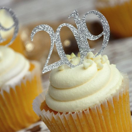 Glitter Silver 2019 Graduation Cupcake Toppers. (1 Pack of 12 Toppers).  Made in 1-3 Business Days. Graduation Party - Graduation Cap Cake Topper
