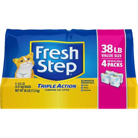 Fresh Step Triple Action Scented Clumping Cat Litter  38 Lb