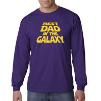 Trendy USA 715 - Unisex Long-Sleeve T-Shirt Best Dad in The Galaxy Star Wars Opening Crawl Large Gold