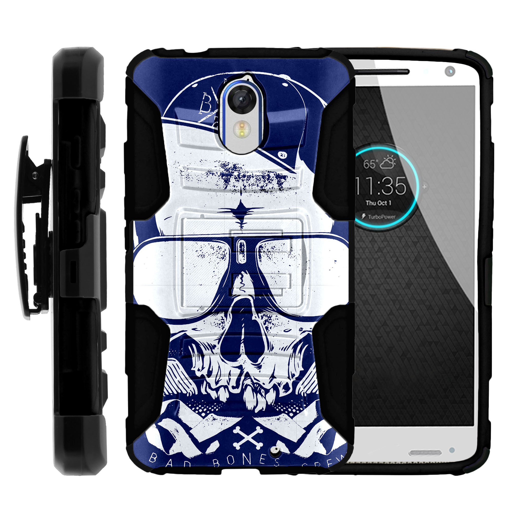 Motorola Droid Turbo 2 XT1585 Miniturtle® Clip Armor Dual Layer Case Rugged Exterior with Built in Kickstand + Holster - Blue and Red Skull