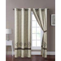 4-Pc Cullen Floral Damask Embroidery Stripe Curtain Set Antique Beige Gray Drape Sheer Liner Grommet