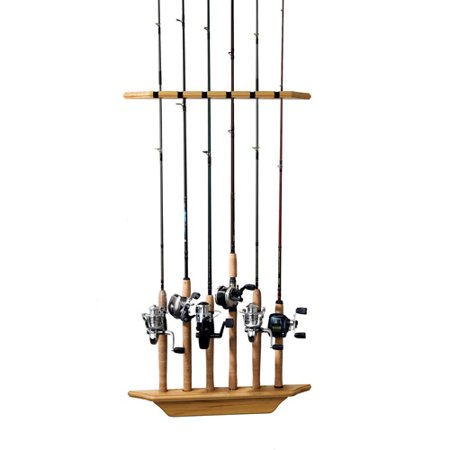 Organized fishing 6 rod wall rack natural pine for Wall fishing pole holder