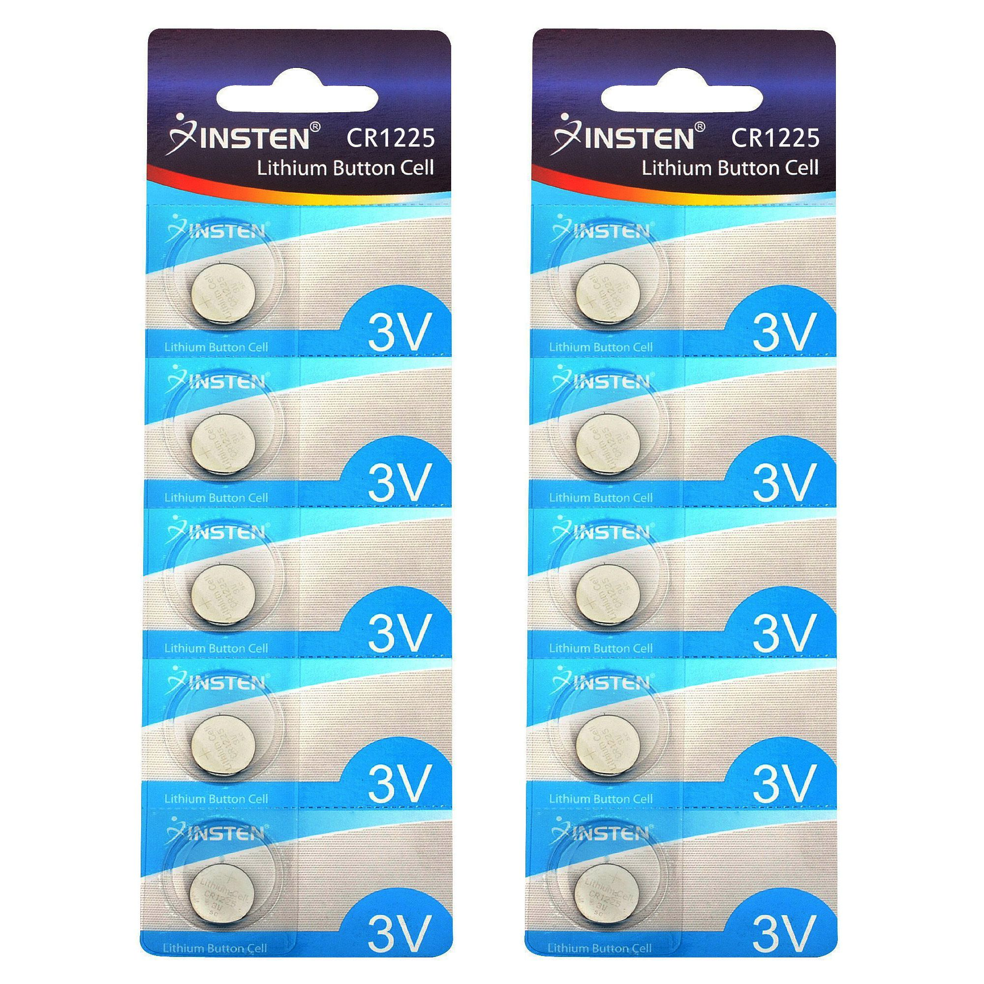 Insten CR1225 3V Lithium Batteries Coin Button Cell Watch Battery (Pack of 10)