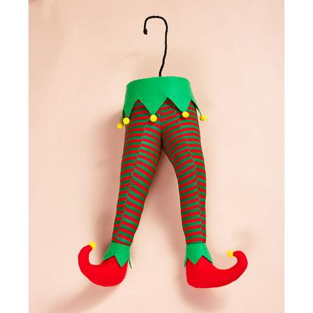 Elf or Santa Legs Stuck in the Tree Festive Fun Christmas Holiday Home Decor New (Elf) ()
