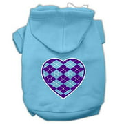 Mirage Pet 62-110 SMBBL Argyle Heart Purple Screen Print Pet Hoodies, Baby Blue - Small