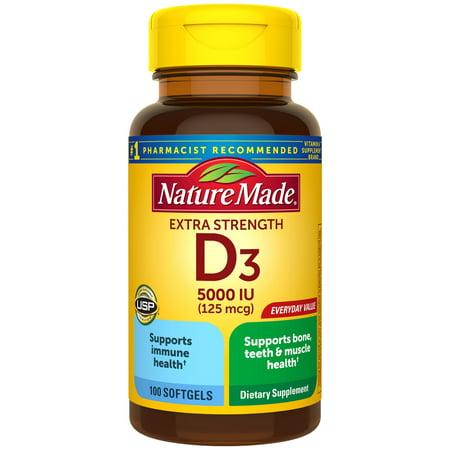 Nature Made Extra Strength Vitamin D3 5000 IU (125 mcg) Softgels, 100 Count