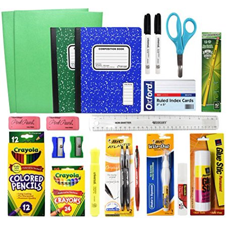 Back To School Basic Classroom Supply Pack (23 Count) School Supplies Kit - Suitable For First, Second,Third, Fourth, Fifth, Sixth, Seventh & Eighth Grades!