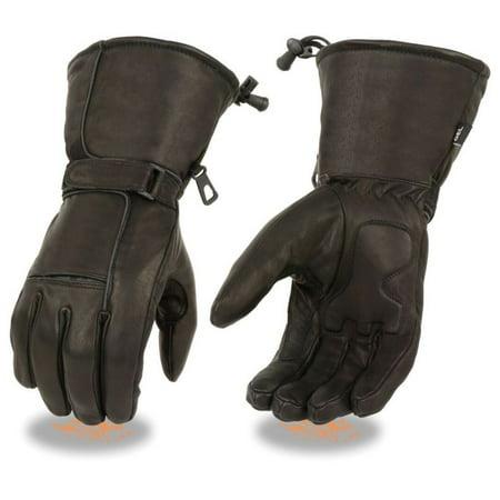 Milwaukee Mens Premium Leather Waterproof Gauntlet Gloves w/Reflective Piping & Gel Palm Black - Gauntlet Gloves