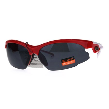 Xloop Sport Warp Plastic Mens Baseball Half Rim Sunglasses (Red Rimmed Sunglasses)