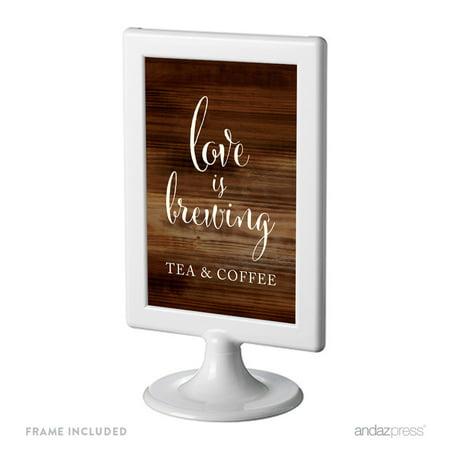 Tea & Coffee Love Is Brewing Framed Rustic Wood Wedding Party - Tea Party Wedding