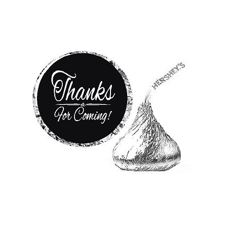 216ct Deep Thanks for Coming Party Favor Hersheys Kisses Candy Decoration Stickers / (Thanks Message For Coming To Birthday Party)