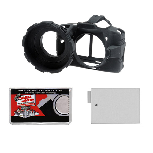MADE Rubberized Camera Armor (Black) for Canon Rebel T2i Digital SLR Camera + LP-E8 Battery + Cleaning Cloth