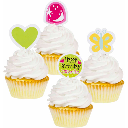 Creative Converting Sweet Treats Cupcake Toppers, 12-Pack