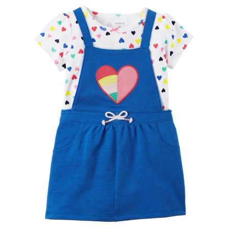 dac4d3e2d647 Carters Infant Girls Baby Outfit Blue Heart Coverall Jumper Dress ...