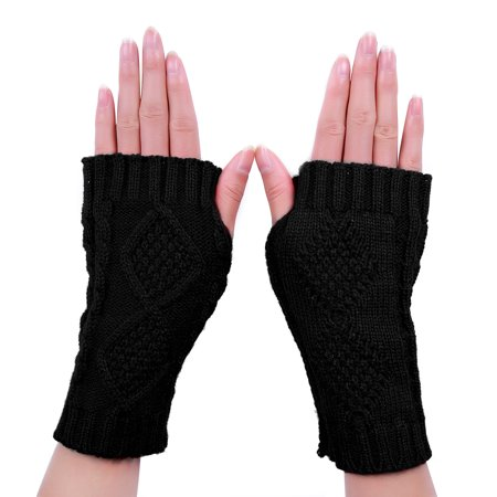 HDE Women's Fingerless Gloves Crochet Cable Knit Wrist, Hand, and Arm Warmers (Striped Wrist Warmers)