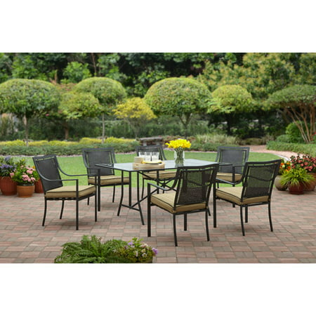 Garden Furniture 6 Chairs mainstays braddock heights ii 7-piece patio dining set, seats 6