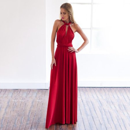 Hot Sale NEW Women Fashion Sleeveless Halter Bandage Ball Gown Dress Multi Worn Elegant Sexy Multiway Convertible Long Dresses(Wine Red) - Cos Sale Dresses